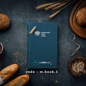 موکاپ کتاب در محیط آشپزخانه