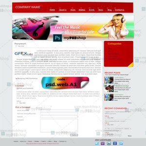 دانلود رایگان طرح لایه باز قالب وب سایت موزیک psd.web.A1