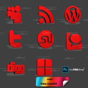 دانلود رایگان آیکن قرمز رنگ شبکه های اجتماعی free.iconA5