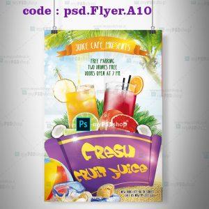 دانلود رایگان طرح لايه باز تراکت آب میوه های تابستانی psd.Flyer.A10