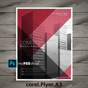 طرح لايه باز تراکت یک رو شرکتی corel.Flyer.A3