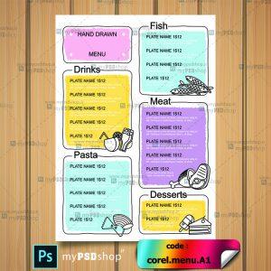 طرح لایه باز منو یکرو رستوران قابل استفاده در کرل و ایلستریتور corel.menu.A1