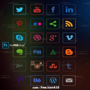 دانلود رایگان آیکن شبکه های اجتماعی رنگی free.iconA10