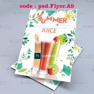 دانلود رایگان طرح لايه باز تراکت آب میوه تابستانی psd.Flyer.A9