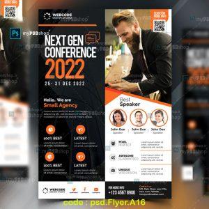 دانلود رایگان فایل لایه باز تراکت تبلیغاتی نارنجی psd.Flyer.A16
