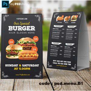 دانلود طرح لایه باز منو رستوران دورو با زمینه مشکی psd.menu.B1