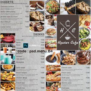 دانلود فایل لایه باز منو فست فود و رستوران psd.menu.B4
