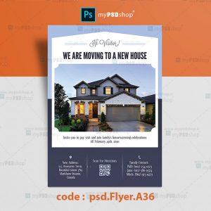 دانلود رایگان طرح لایه باز تراکت املاک مسکن یکرو psd.Flyer.A36
