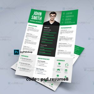دانلود رایگان طرح لایه باز رزومه شخصی psd.resume8
